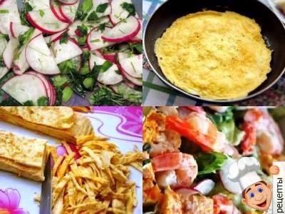 салат с яичными блинчиками и креветками