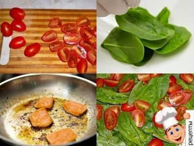 салат с лососем и шпинатом, с помидорами