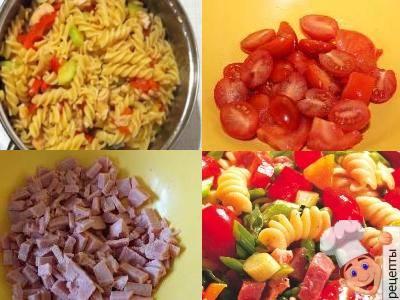 овощной салат с макаронами и ветчиной