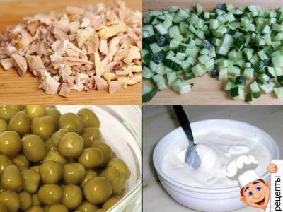 салатс зеленым горошком и куриной грудкой
