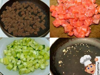 салат с лососем и огурцом