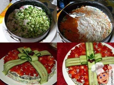 рецепт салата курица сыр шампиньоны