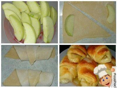 как приготовить слойки с яблоками и корицей из слоеного теста в спрайте. Рецепт