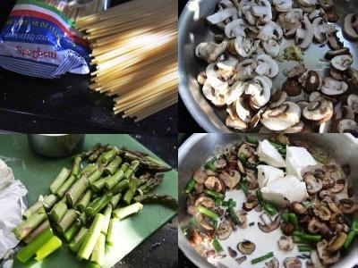 паста со шпинатом и грибами