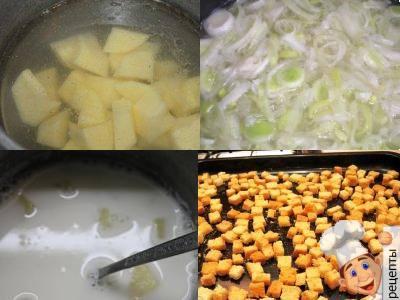 суп пюре картофельный с луком, молоком и с гренками