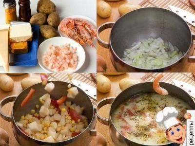 суп с креветками и плавленным сыром рецепт