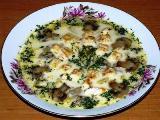 суп с сыром и грибами и курицей на обед