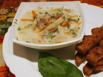 сырный суп с грибами на мясном бульоне