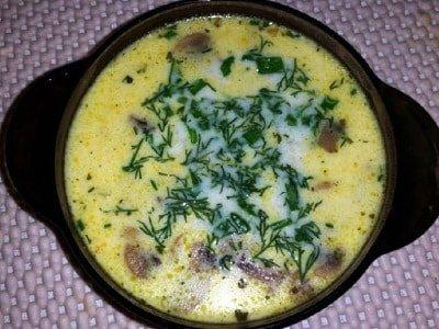Сырный суп с шампиньонами и мясом