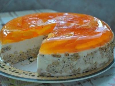 торт из сметаны, печенья, желатина, апельсинового желе