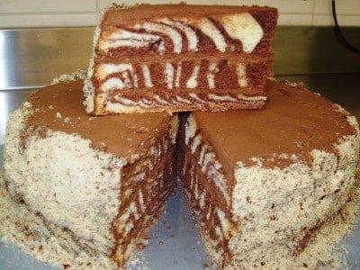 торт зебра на сметане с кремом