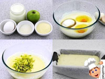 манник с яблоками рецепт, яблочного манника