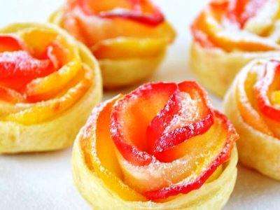 как приготовить яблоки в тесте розочки, рецепт розочки из слоеного теста с яблоками