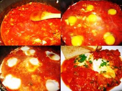 яичница с томатным соусом, блюдо из яиц и томатной пасты
