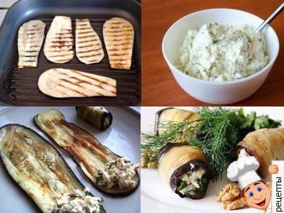 закуска из запеченных баклажанов с фетой и грецкими орехами