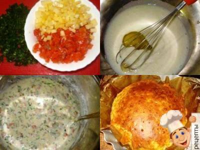 заливной пирог на кефире со слабосоленой рыбой, сыром и зеленью