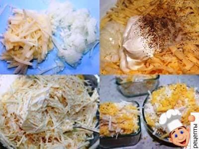 запеканка из тертой картошки, тертый картофель запеченный в духовке