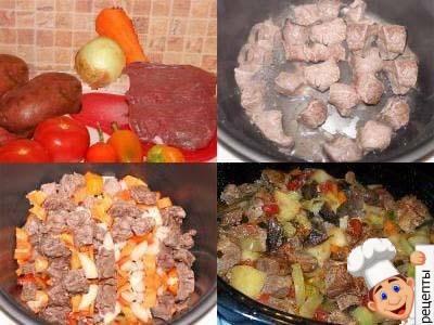 вкусное жаркое мясо картошкой мультиварке