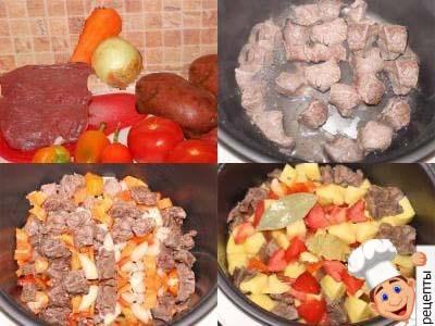 рецепт свинина с картошкой, жаркое мультиварке