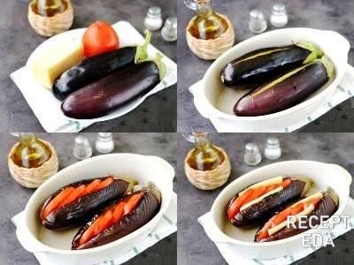 баклажаны фаршированные в духовке с помидорами и сыром