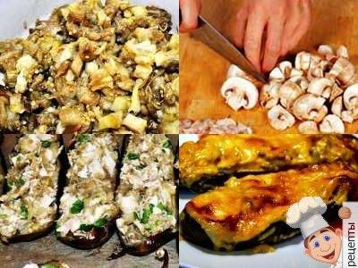 баклажаны в духовкес сыром, баклажаны с грибами и сыром