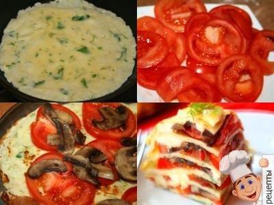блинный пирог с помидорами грибами и сыром