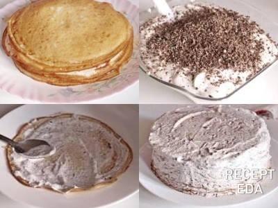 блинный торт с маскарпоне и сливками