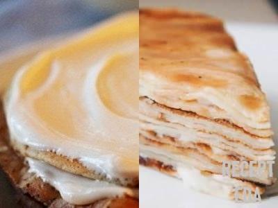 блинный торт со сгущенкой и маслом