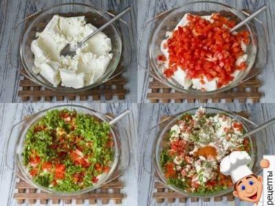 болгарский перец, фаршированный творогом и зеленью
