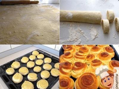 булочки розочки с сахаром. приготовление из дрожжевого теста