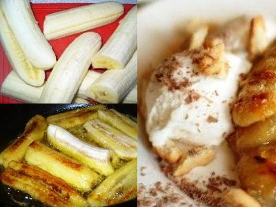 десерт из бананов с мороженым