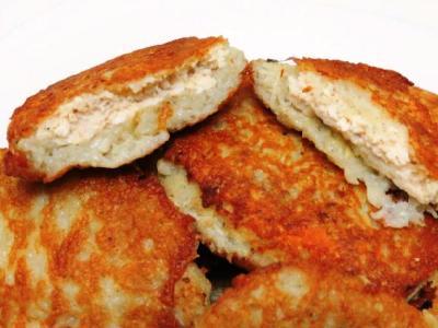 Драники с начинкой из курицы внутри, рецепт