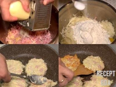 драники с ветчиной и сыром и зеленью рецепт