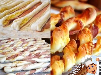 дрожжевые палочки с сыром и беконом