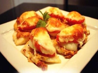 филе лосося в духовке с сыром и помидорами