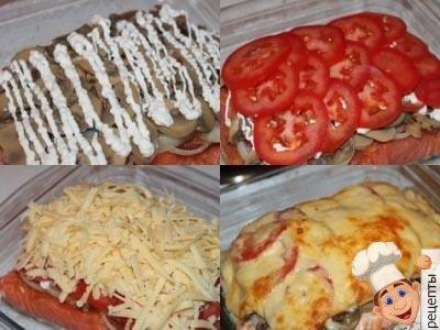 форель в духовке с грибами, помидорами, сыром