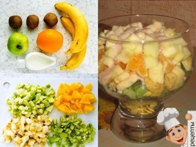 фруктовый салат из яблок и бананов