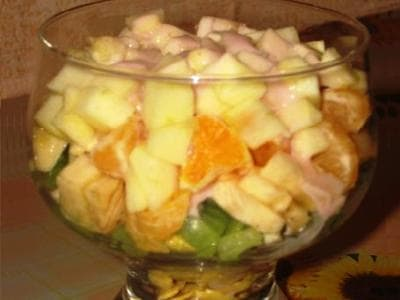 фруктовый салат яблоко банан апельсин