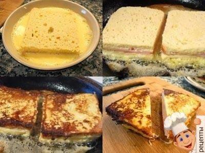 жареные бутерброды с колбасой