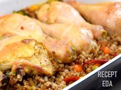 гречка с курицей в духовке с овощами