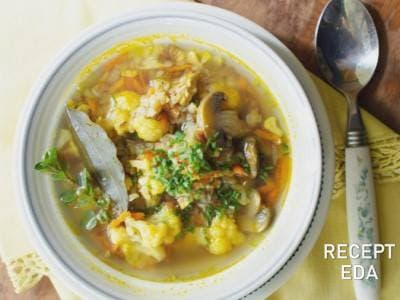 грибной суп с гречкой и картофельными клецками