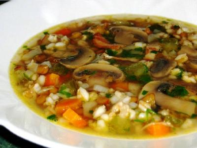 Грибной суп с рисом, рецепт
