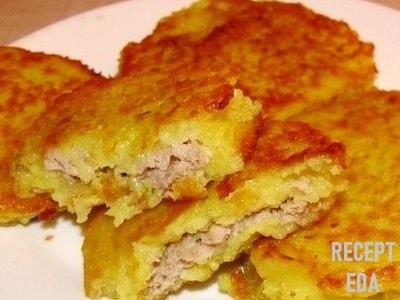 Деруны картофельные с фаршем, рецепт деруны с мясом