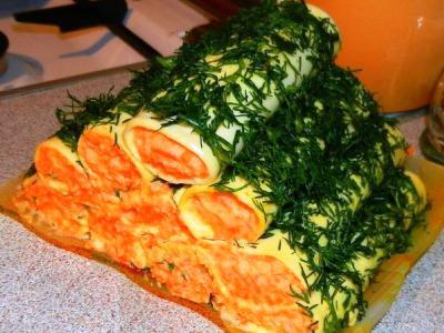 Закуска сырные рулетики с корейской морковью