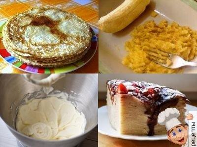 блинный торт с масляным кремом и бананом