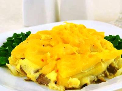 картофельно грибная запеканка с сыром
