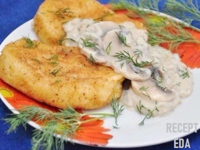 картофельные котлеты с грибной подливкой из шампиньонов
