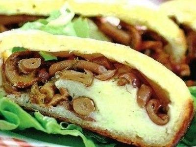 картофельный рулет с грибами в духовке