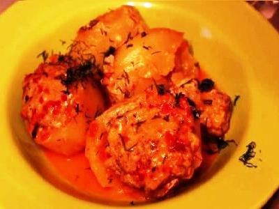 картошка фаршированная фаршем в духовке, картошка фаршированная мясом