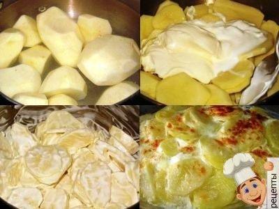 картошка в духовке со сметаной и луком
